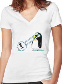 Penguin Power Women's Fitted V-Neck T-Shirt