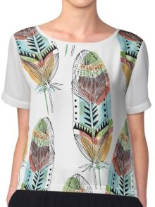 Boho Feathers Chiffon Top