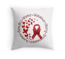 Red Awareness Ribbon with Butterfly Throw Pillow