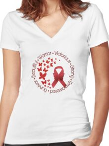 Red Awareness Ribbon with Butterfly Women's Fitted V-Neck T-Shirt