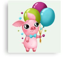 Molly the Micro Pig - Cute Balloons Canvas Print