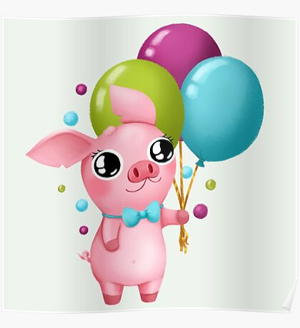 Molly the Micro Pig - Cute Balloons Poster