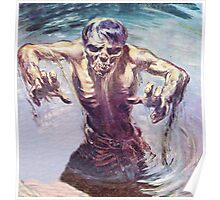 Zombie emerging from a lake Poster