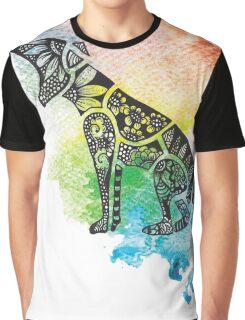 Thylacine over Watercolour Graphic T-Shirt