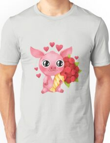 Molly the Micro Pig - Flowers and Love Unisex T-Shirt