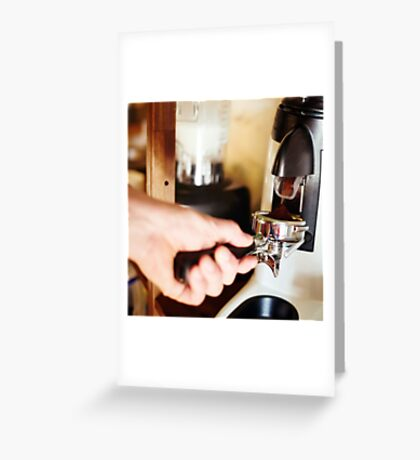 Coffee mill machine making espresso Greeting Card