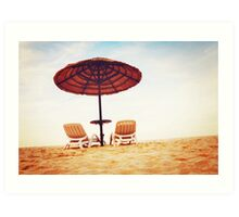 Tropical beach view with two chaise longues Art Print