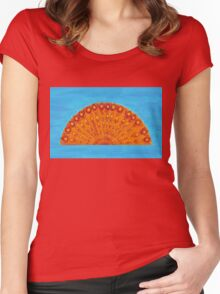 Peacock sunrise Women's Fitted Scoop T-Shirt