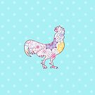 Colorful cock on snowflakes by Marishkayu