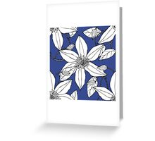 Clematis vine on blue background Greeting Card