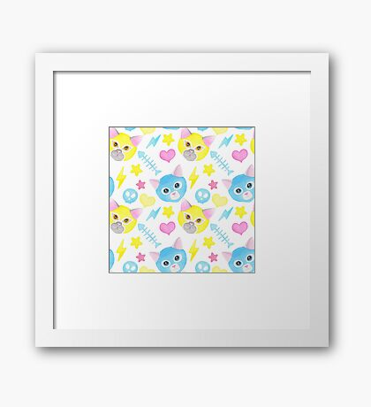 Watercolor cat pattern, funny luchadores Framed Print