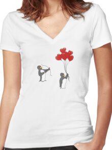 Penguin Valentine Women's Fitted V-Neck T-Shirt