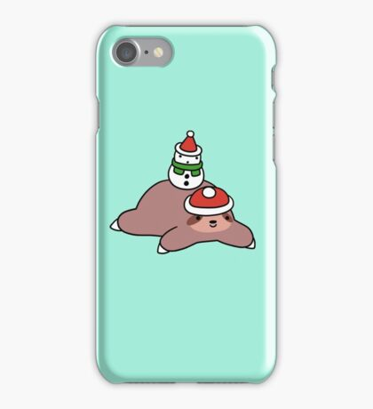 Winter Sloth and Snowman iPhone Case/Skin