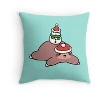 Winter Sloth and Snowman Throw Pillow