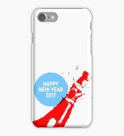 Happy New year 2017 with champagne bottle  iPhone Case/Skin