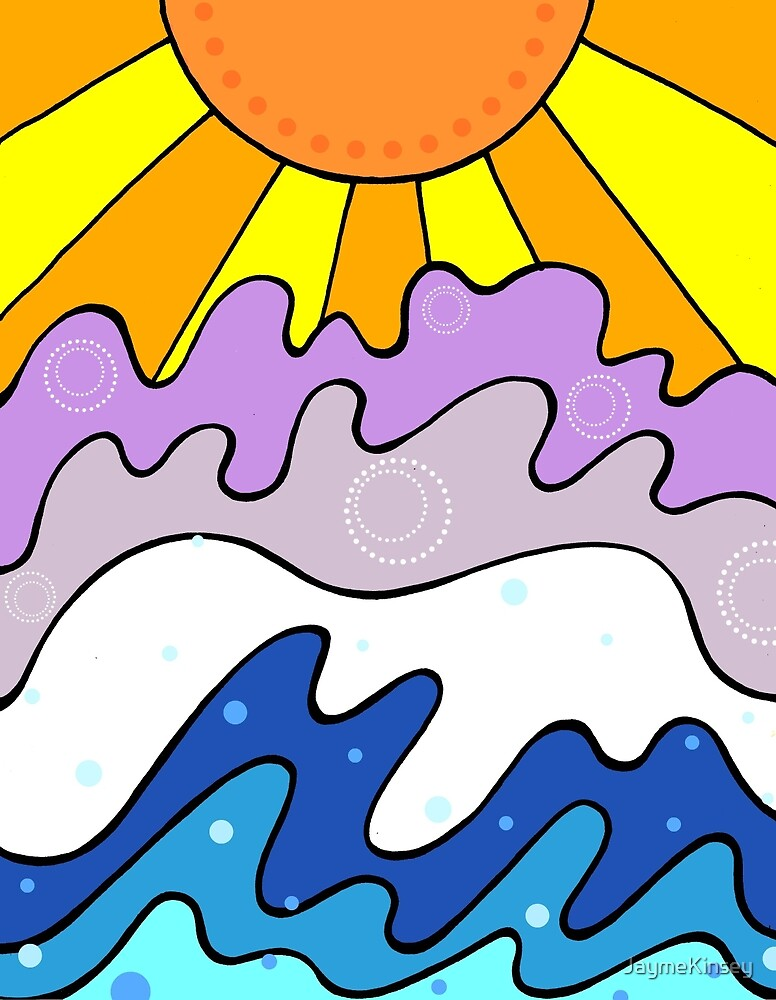 Sunset and Waves Abstract by JaymeKinsey
