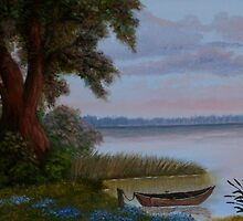Boat at the lake painting by Karen Wilson