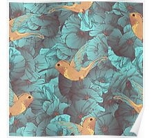 Tropical bird colibries and blue poppies seamless pattern. Poster