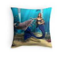 Mermaid and Dolphin Throw Pillow