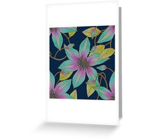 Clematis Vine in Aqua, Lime and Violet Greeting Card