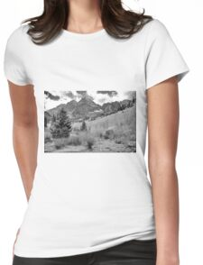 Maroon Bells Monochrome Womens Fitted T-Shirt