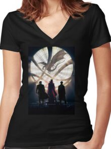 Benedict Cumberbatch 4 iconic characters by lichtblickpink Women's Fitted V-Neck T-Shirt
