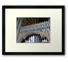 Fine Workmanship in Gold and Blue - Exeter Cathedral Framed Print