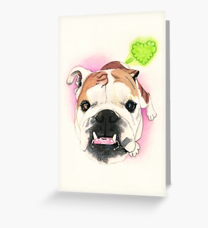 English Bulldog @LucyFarted  Greeting Card
