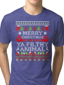 Christmas T-shirt - Merry Christmas Ya Filthy Animal Tri-blend T-Shirt