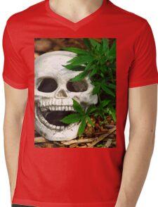 Happy Marijuana Skull  Mens V-Neck T-Shirt
