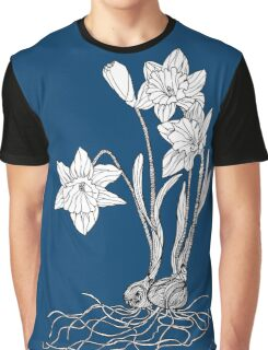 Daffodils on Midnight Blue Background Graphic T-Shirt