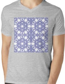 Abstract geometric pattern with blue arabesque ornament Mens V-Neck T-Shirt