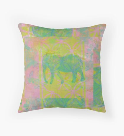 Elephant Green on Pink Throw Pillow