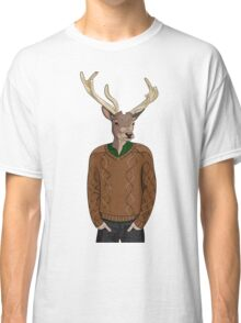 Anthropomorphic hipster deer man print Classic T-Shirt