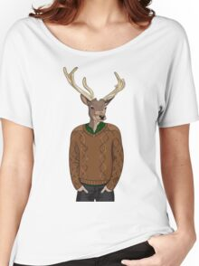 Anthropomorphic hipster deer man print Women's Relaxed Fit T-Shirt