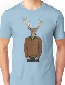 Anthropomorphic hipster deer man print Unisex T-Shirt