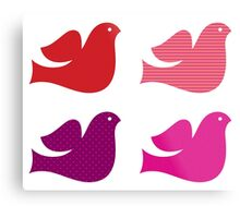 Stylized retro doves set : pink red Metal Print