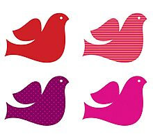 Stylized retro doves set : pink red Photographic Print
