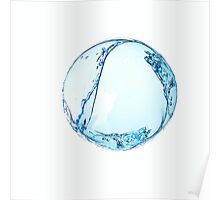 Blue water drop over white background. 3D illustration Poster
