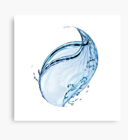 Blue water drop over white background. 3D illustration Canvas Print