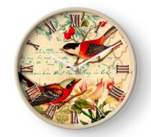 019 Wall Clock Red birds with fruits Clock