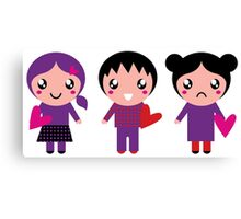 Little cute Emo kids for Valentines day Canvas Print