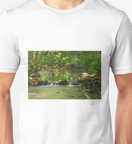Woodland River Scene, Wolfscote Dale Unisex T-Shirt