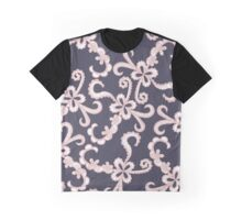 Blush Pink White Floral Lace on Navy Blue Graphic T-Shirt