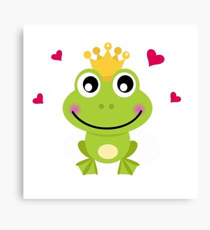 Frog prince. Vector cartoon illustration : green Canvas Print