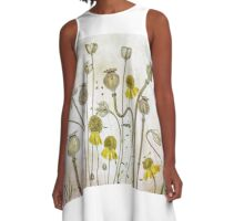 Poppies and Heleniums A-Line Dress