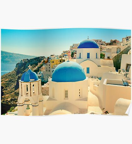 Blue Church Domes of Oia, Santorini, Greece Poster