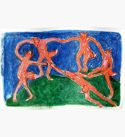 Dancing Foxes (After Matisse) Poster