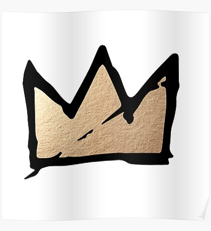 Gold & Black Basquiat Crown  Poster