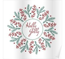 Christmas round design. Holly Jolly. Poster